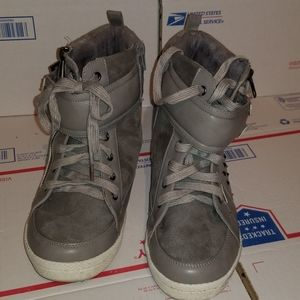 torrid grey wedge sneakers women's 10